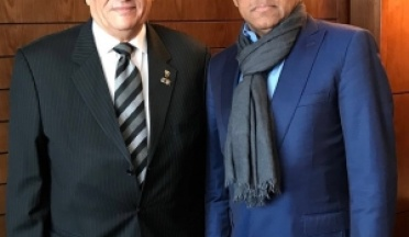 Ahmad Ahmad, president of CAF, Welcomes General. Ahmed Nasser President of UCSAin The Final African Nations Cup in Morocco.